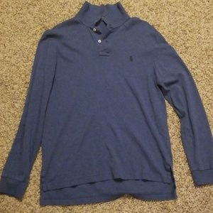 Navy blue mens long sleeved polo